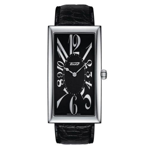 Tissot Banana eckige Uhr Damen & Herren Silber Schwarz Leder-Armband Braun T117.509.16.052.00