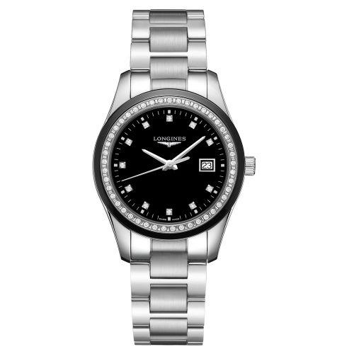 Longines Conquest Classic Damenuhr mit Diamanten 36 mm Silber mit schwarzem Zifferblatt Edelstahl-Armband Quarz L2.387.0.57.6