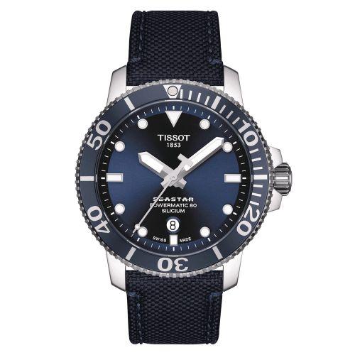 Tissot Seastar 1000 Powermatic 80 Silicium AUtomatic Blau 43mm Textil-Armband T120.407.17.041.01 | Uhren-Lounge