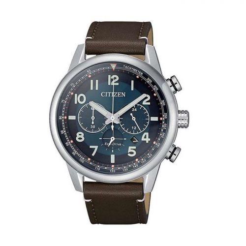 Citizen Herrenuhr Chronograph blaues Zifferblatt braunes Leder-Armband Eco-Drive 43mm CA4420-13L zum günstigen Preis kaufen