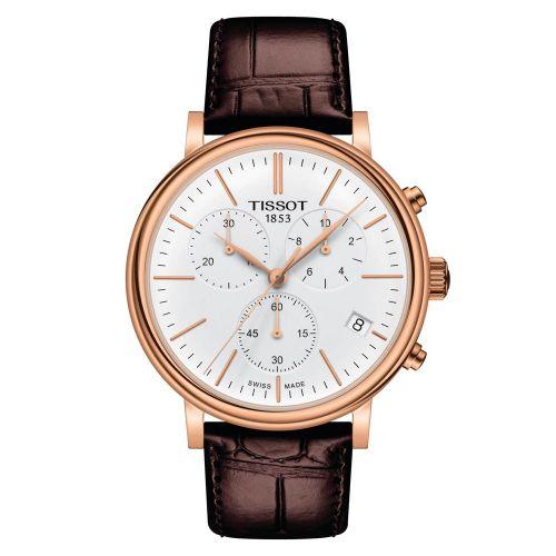 Tissot Carson Premium Chronograph Rosegold Zifferblatt Weiß Leder-Armband T122.417.36.011.00