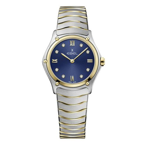 Ebel Sport Classic Lady Damenuhr Bicolor Zifferblatt Blau mit Diamanten 29mm 1216446A | Uhren-Lounge