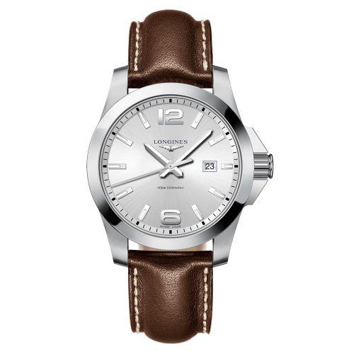 Longines Conquest Quarz 43mm mit silbernem Zifferblatt & braunem Leder-Armband Herrenuhr L3.760.4.76.5