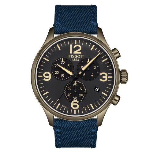 Tissot Chrono XL Khaki-Grün Zifferblatt Schwarz Nato-Armband Blau Quarz 45mm T116.617.37.057.01   Uhren-Lounge