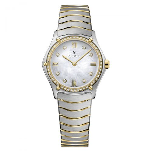 Ebel Sport Classic Lady Damenuhr Bicolor mit Diamanten Perlmutt-Zifferblatt 29mm Quarz 1216390A
