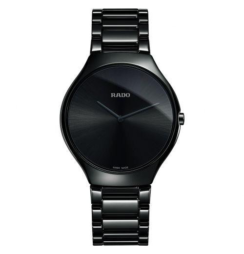Rado True Thinline L Schwarz Keramik Uhr Damen & Herren 39mm Quarz R27741182   Uhren-Lounge