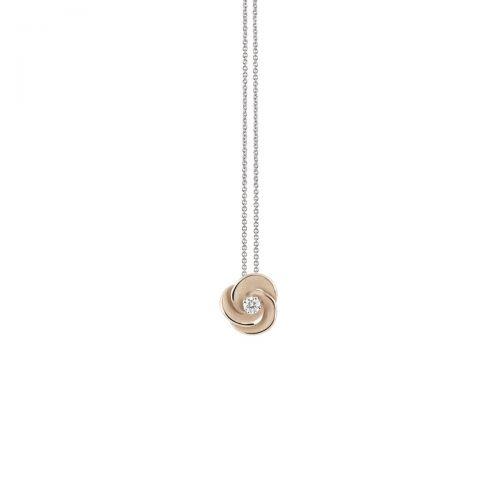 Annamaria Cammilli Anhänger & Halskette Desert Rose Beige Gold mit Diamanten Essential GPE3234N