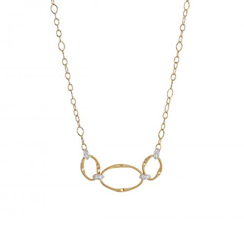 Marco Bicego Marrakech Onde Halskette Gold mit Diamanten Pave CG771 B2 YW