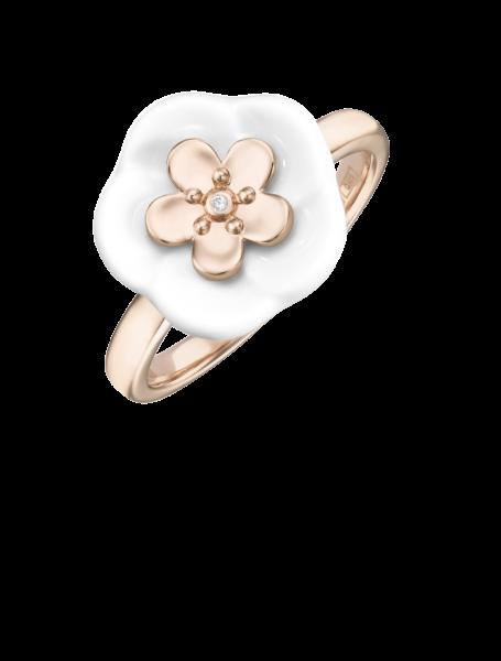 Meissen Porzellan Ring Weiß Rosegold mit Diamanten Royal Blossom MPJ10BL15700