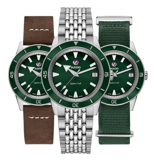 Rado Captain Cook Damenuhr Grün mit Wechsel-Armbändern 37mm Automatik Easy-Clip-Set R32500328 | Uhren-Lounge