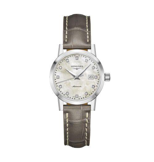 Longines 1832 Damenuhr mit Diamanten Perlmutt-Zifferblatt Lederarmband Automatik 30mm L4.325.4.87.2 | Uhren-Lounge