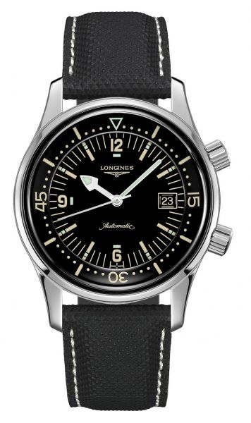 Longines Legend Diver 42mm Automatic Leder-Armband Schwarz Taucheruhr Heritage L3.774.4.50.0 | Uhren-Lounge