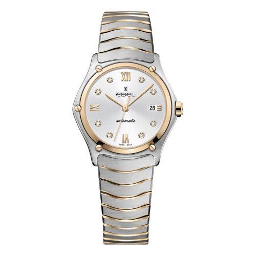 Ebel Sport Classic Lady Automatic Damenuhr Bicolor Rosegold Silber Zifferblatt mit Diamanten 1216429A | Uhren-Lounge