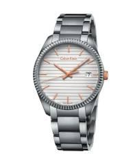 Calvin Klein Uhr Herren 40mm silber Zifferblatt weiß mit Edelstahl-Armband Alliance K5R31B46 | Uhren-Lounge