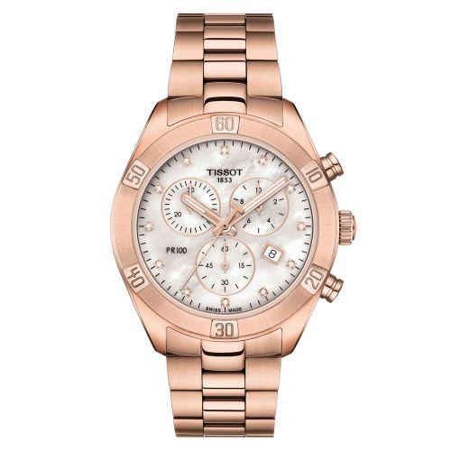 Tissot PR 100 Sport Chic Lady Chronograph Rosegold Perlmutt-Zifferblatt Diamanten T101.917.33.116.00
