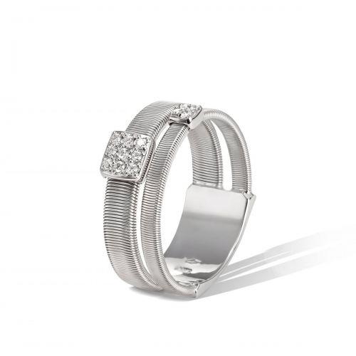 Marco Bicego Ring Masai Weißgold mit Diamanten Paves 2 Stränge AG324 B2 W