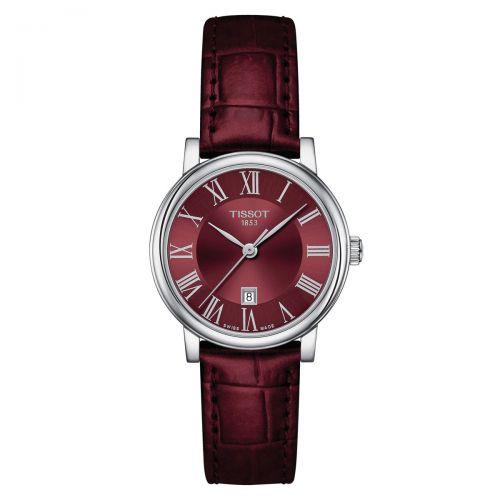 Tissot Carson Premium Lady Damenuhr Bordeaux Rot Leder-Armband Quarz 30mm T122.210.16.373.00