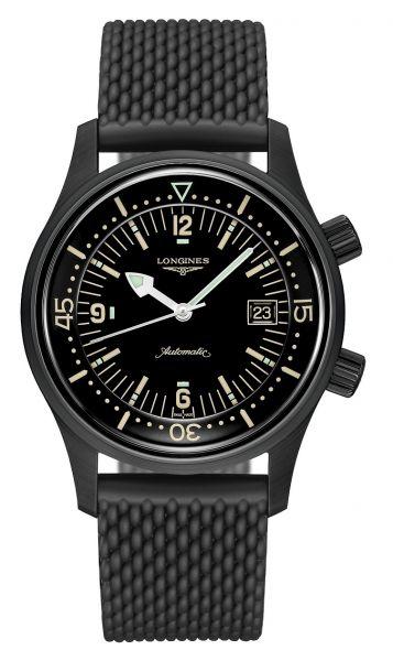 Longines Legend Diver Schwarz 42mm Automatik mit schwarzem Kautschuk-Armband L3.774.2.50.9 | Uhren-Lounge