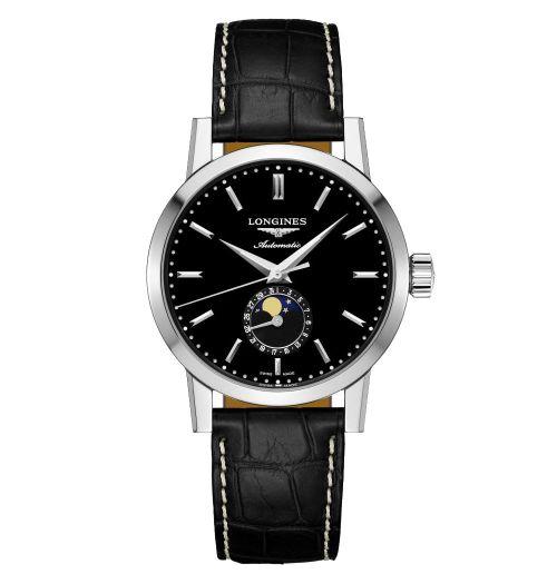 Longines 1832 Mondphase Herrenuhr Automatik schwarzes Zifferblatt & Leder-Armband 40mm L4.826.4.52.0