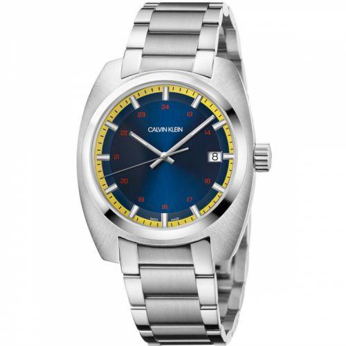Calvin Klein Uhr Herren 43mm silber Zifferblatt blau gelb Achieve K8W3114N