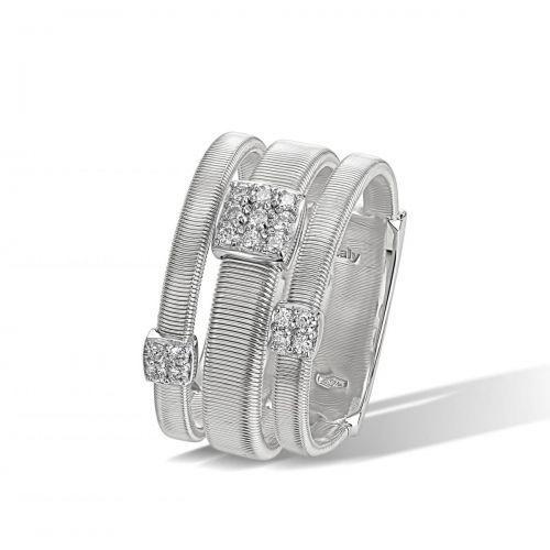 Marco Bicego Masai Ring Weißgold mit Diamanten Paves 3 Stränge AG326 B1 W