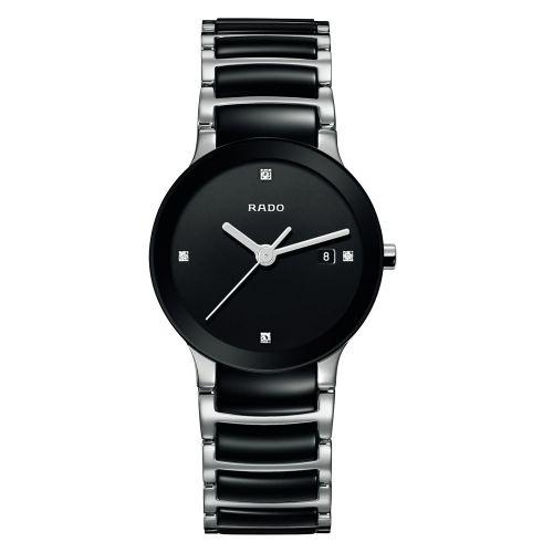 Rado Centrix Diamonds Damenuhr mit Diamanten Keramik Schwarz Quarz 28mm Jubile R30935712 | Uhren-Lounge