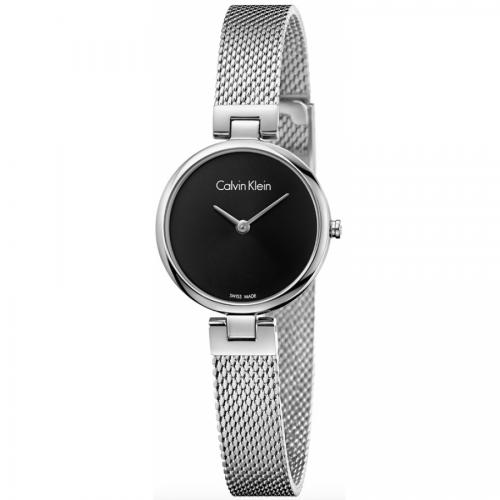 Calvin Klein Damenuhr silber schwarz 28mm Edelstahl-Armband Authentic K8G23121 | Uhren-Lounge