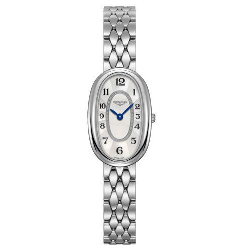 Longines Symphonette Damenuhr S Oval Silber Weiß Perlmutt Edelstahl-Armband Quarz 29mm L2.305.4.83.6