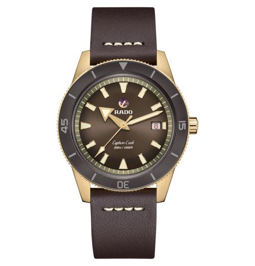 Rado Captain Cook Automatic Bronze Braun Leder-Armband Herrenuhr XL 42mm R32504306 | Uhren-Lounge