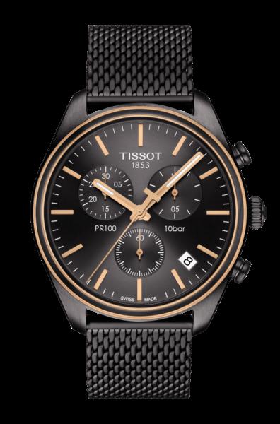 Tissot PR 100 Chronograph Schwarz Anthrazit Rosegold Herrenuhr 41mm Quarz T101.417.23.061.00