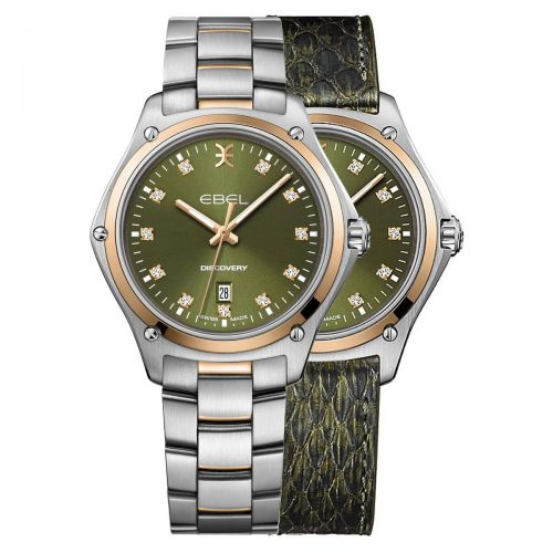 Ebel Discovery Lady Damenuhr Bicolor Grün mit Diamanten Edelstahl- & Leder-Armband Quarz 33mm 1216424