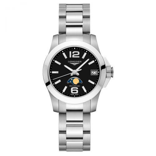 Longines Conquest Mondphase Damenuhr 29,5mm Schwarz Edelstahl-Armband Quarz L33804586