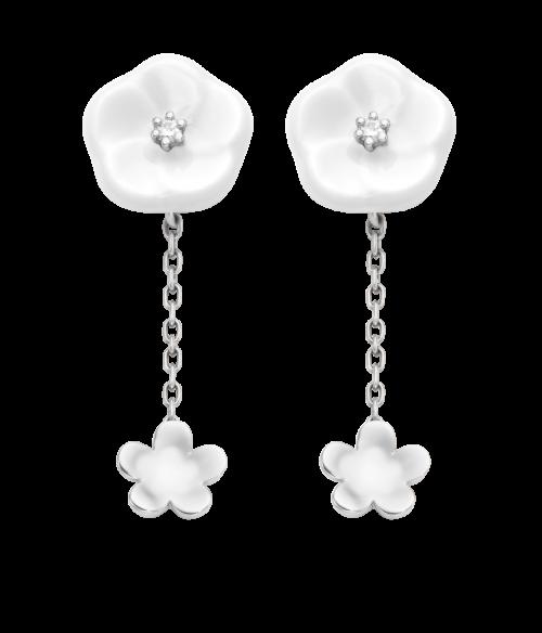 Meissen Ohrringe 2 Blüten Porzellan Weißgold Diamanten 1739 Royal Blossom MPJ55BL28600