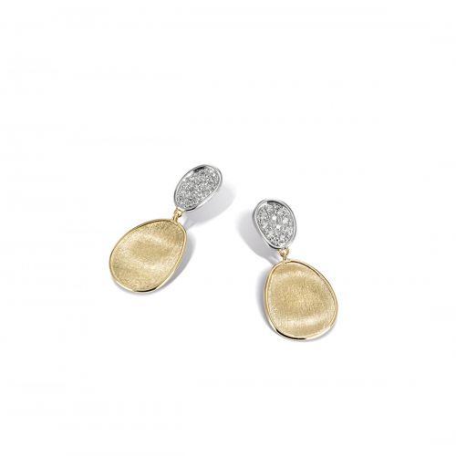 Marco Bicego Lunaria Mini Ohrringe mit Diamanten Pavé Gold Ohrhänger kurz OB1751 B YW