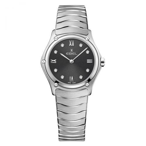 Ebel Sport Classic Lady Damenuhr Silbern Anthrazit mit Diamanten 29mm Quarz 1216416A