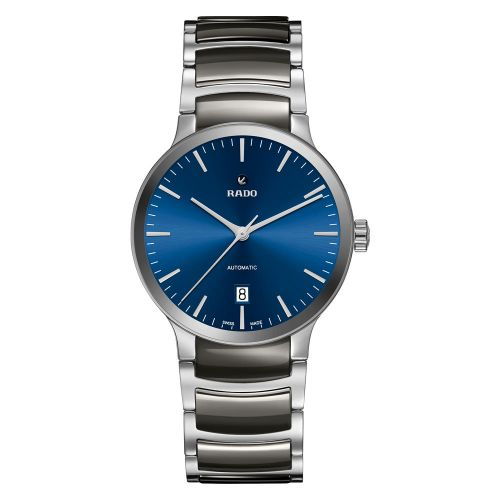Rado Centrix Herrenuhr Automatik Grau mit blauem Zifferblatt & Keramik-Armband 38mm R30010202