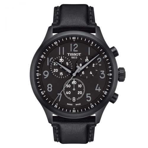 Tissot Chrono XL Vintage Schwarz Leder-Armband Quarz 45mm Herrenuhr Chronograph T116.617.36.052.00
