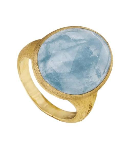 Marco Bicego Ring mit blauem Aquamarin Edelstein Gold 18 Karat Lunaria AB565-AQD