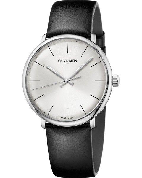 CALVIN KLEIN Uhr Herren Silber Schwarz Lederarmband Quarz 40mm High Noon K8M211C6 | Uhren-Lounge