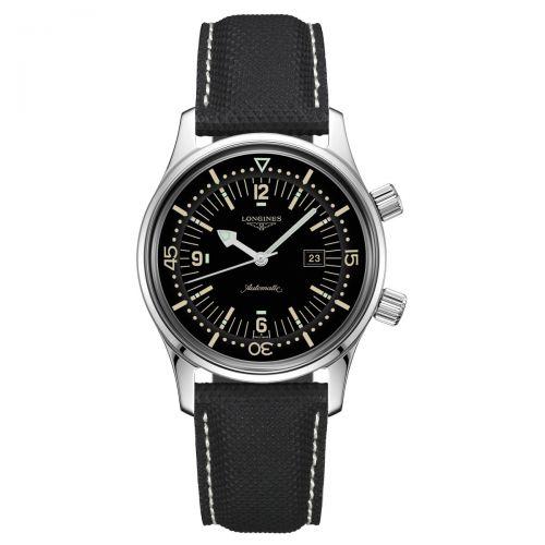 Longines Legend Diver 36mm Automatik Schwarz Leder-Armband Herren Taucheruhr L3.374.4.50.0