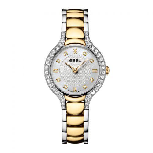 Ebel Damenuhr mit Diamanten Bicolor Silber Gold mit Diamanten silbernes Perlmutt-Zifferblatt Quarz 28mm Ebel Beluga 1216467   Uhren-Lounge