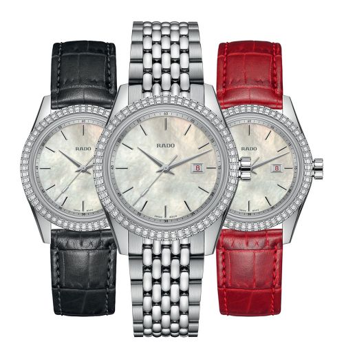 Rado HyperChrome Classic Diamonds Jubile Damenuhr mit Diamanten & 3 Wechsel-Armbänder Set R33099918