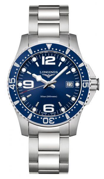Longines HydroConquest 41mm Blau Quarz Herrenuhr mit Edelstahl-Armband L3.740.4.96.6 | Uhren-Lounge