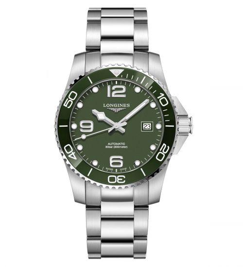 Longines HydroConquest Grün Edelstahl-Armband 41mm Automatik Herren Taucheruhr L3.781.4.06.6 | Uhren-Lounge