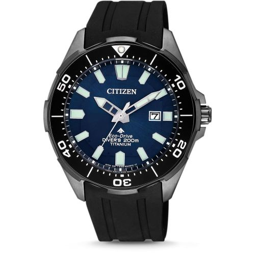 Citizen Promaster Marine Diver Super Titanium Eco Drive Taucheruhr schwarz blau BN0205-10L