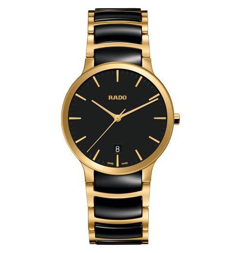Rado Centrix Herrenuhr L Schwarz Gold Bicolor Keramik-Armband 38mm Quarz R30527172