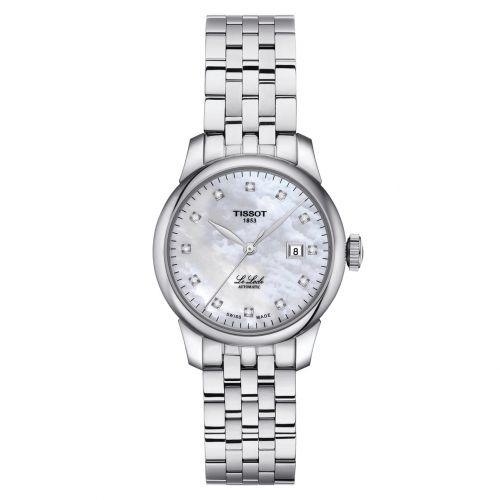 Tissot Damenuhr mit Diamanten silbern weißes Perlmutt-Zifferblatt 29mm Edelstahl-Armband Le Locle Automatic Lady T006.207.11.116.00