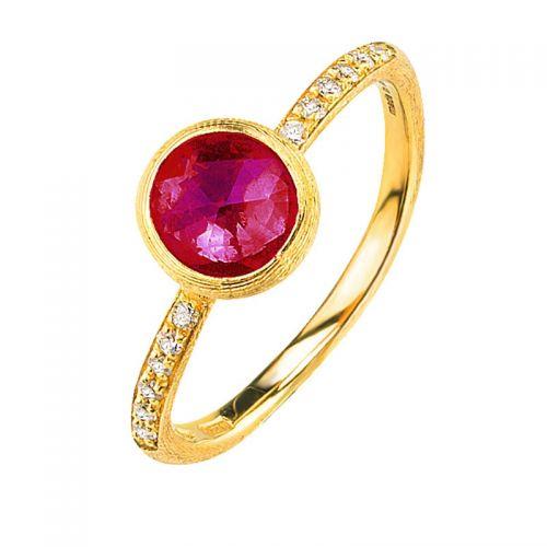 Marco Bicego Jaipur Ring Gold mit rosa Turmalin Edelstein & Diamanten AB471-B-TR01
