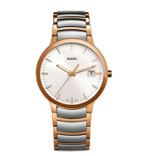 Rado Centrix L Herrenuhr Quarz Bicolor Silber Rosegold Edelstahl-Armband 38mm R30554103