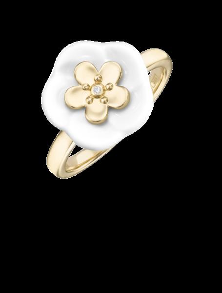 Meissen Ring Gold Porzellan Weiß mit Diamanten MPJ10BL35700